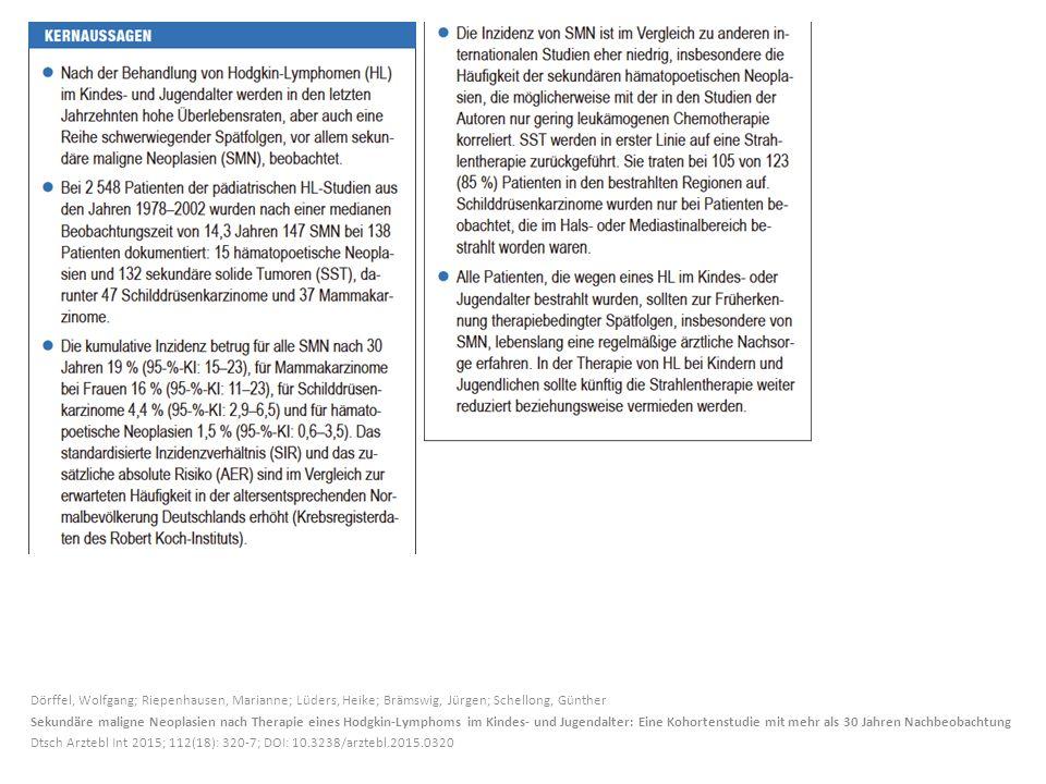 Dörffel, Wolfgang; Riepenhausen, Marianne; Lüders, Heike; Brämswig, Jürgen; Schellong, Günther Sekundäre maligne Neoplasien nach Therapie eines Hodgkin-Lymphoms im Kindes- und Jugendalter: Eine Kohortenstudie mit mehr als 30 Jahren Nachbeobachtung Dtsch Arztebl Int 2015; 112(18): 320-7; DOI: 10.3238/arztebl.2015.0320