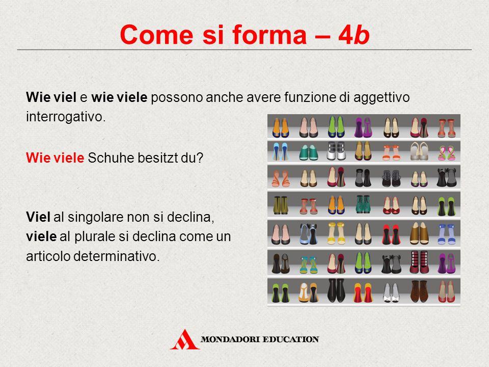 Come si forma – 4b Wie viel e wie viele possono anche avere funzione di aggettivo interrogativo. Wie viele Schuhe besitzt du? Viel al singolare non si