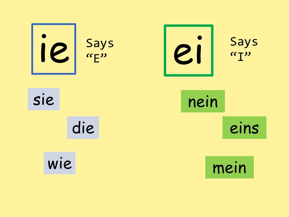 """ei ie sie wie dieeins nein mein Says """"E"""" Says """"I"""""""