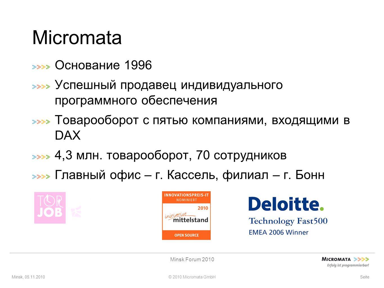 Minsk, 05.11.2010© 2010 Micromata GmbH Minsk Forum 2010 Seite Micromata Основание 1996 Успешный продавец индивидуального программного обеспечения Товарооборот с пятью компаниями, входящими в DAX 4,3 млн.