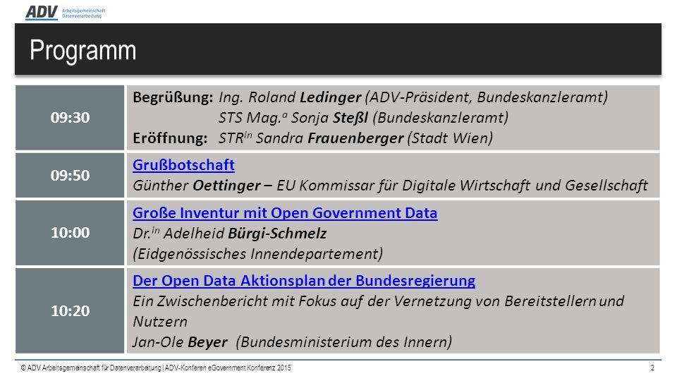 © ADV Arbeitsgemeinschaft für Datenverarbeitung | Programm 2 09:30 Begrüßung:Ing. Roland Ledinger (ADV-Präsident, Bundeskanzleramt) STS Mag. a Sonja S