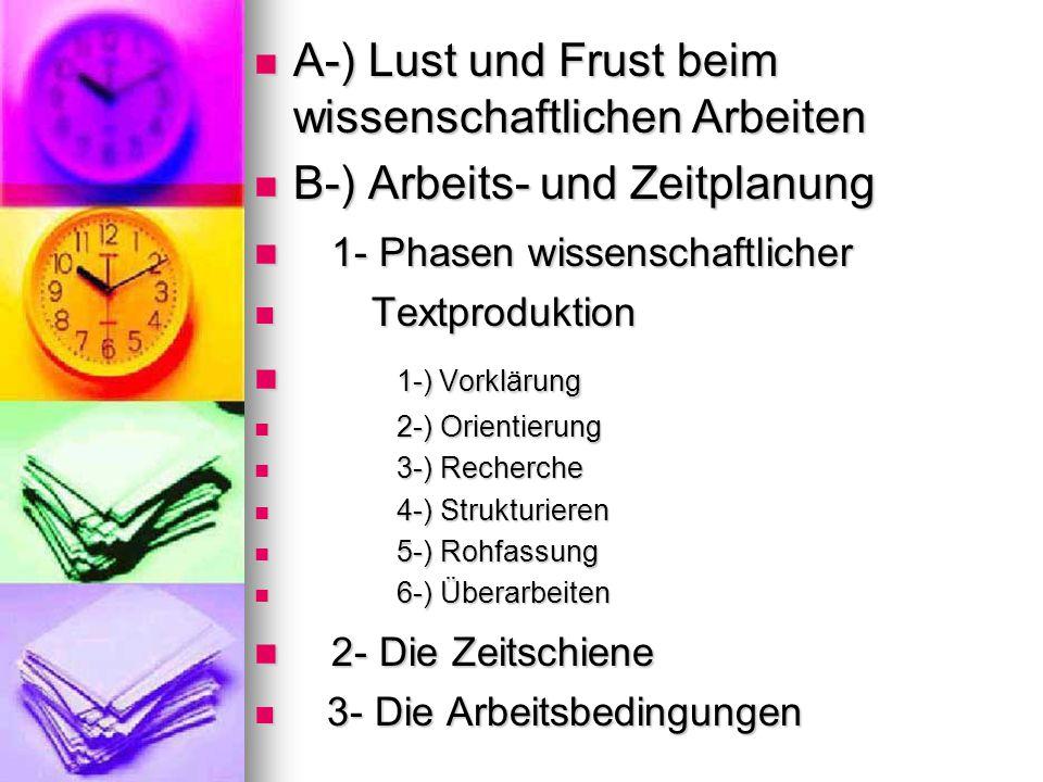 A-) Lust und Frust beim wissenschaftlichen Arbeiten A-) Lust und Frust beim wissenschaftlichen Arbeiten B-) Arbeits- und Zeitplanung B-) Arbeits- und