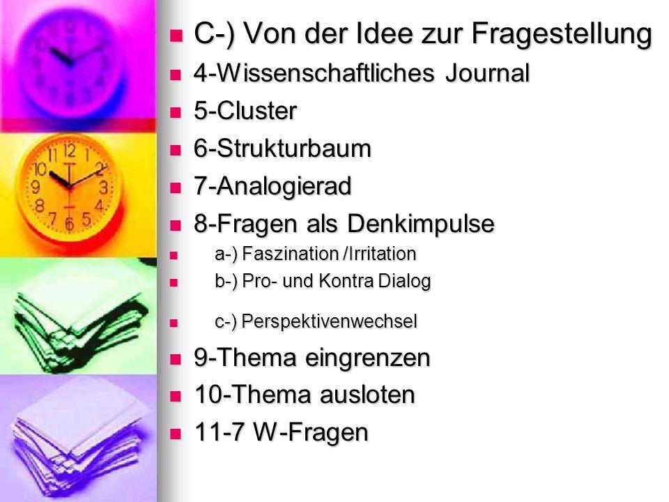 C-) Von der Idee zur Fragestellung C-) Von der Idee zur Fragestellung 4-Wissenschaftliches Journal 4-Wissenschaftliches Journal 5-Cluster 5-Cluster 6-