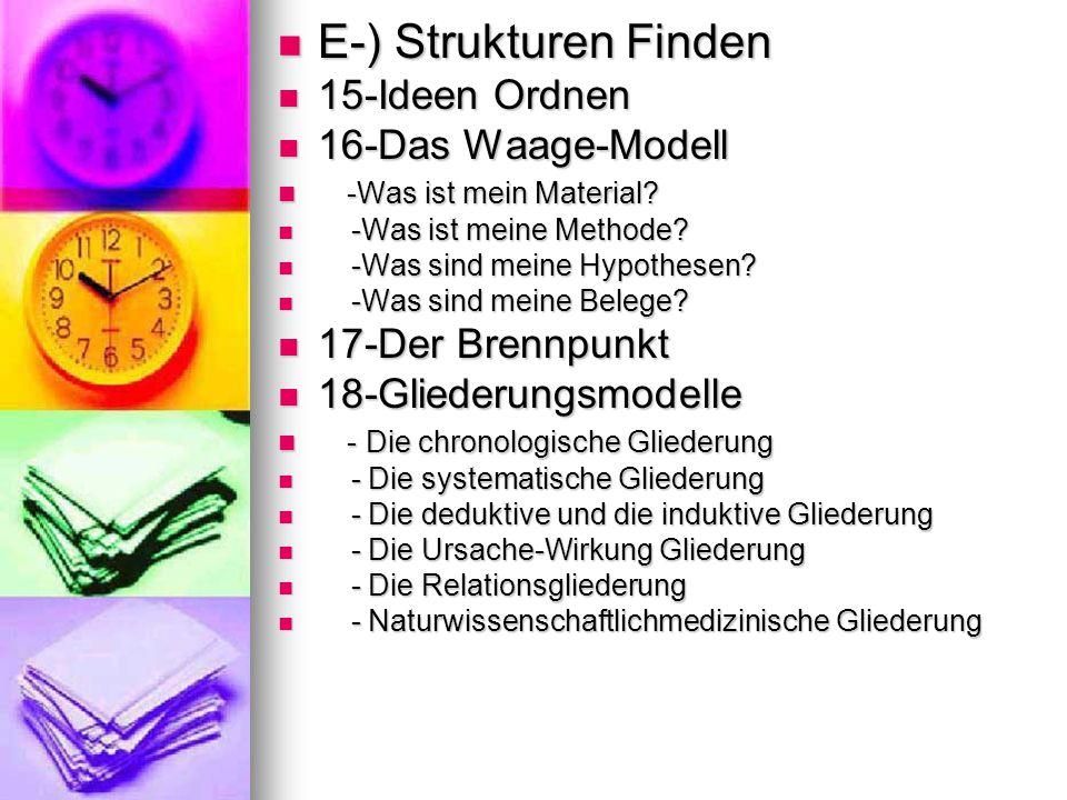 E-) Strukturen Finden E-) Strukturen Finden 15-Ideen Ordnen 15-Ideen Ordnen 16-Das Waage-Modell 16-Das Waage-Modell -Was ist mein Material.