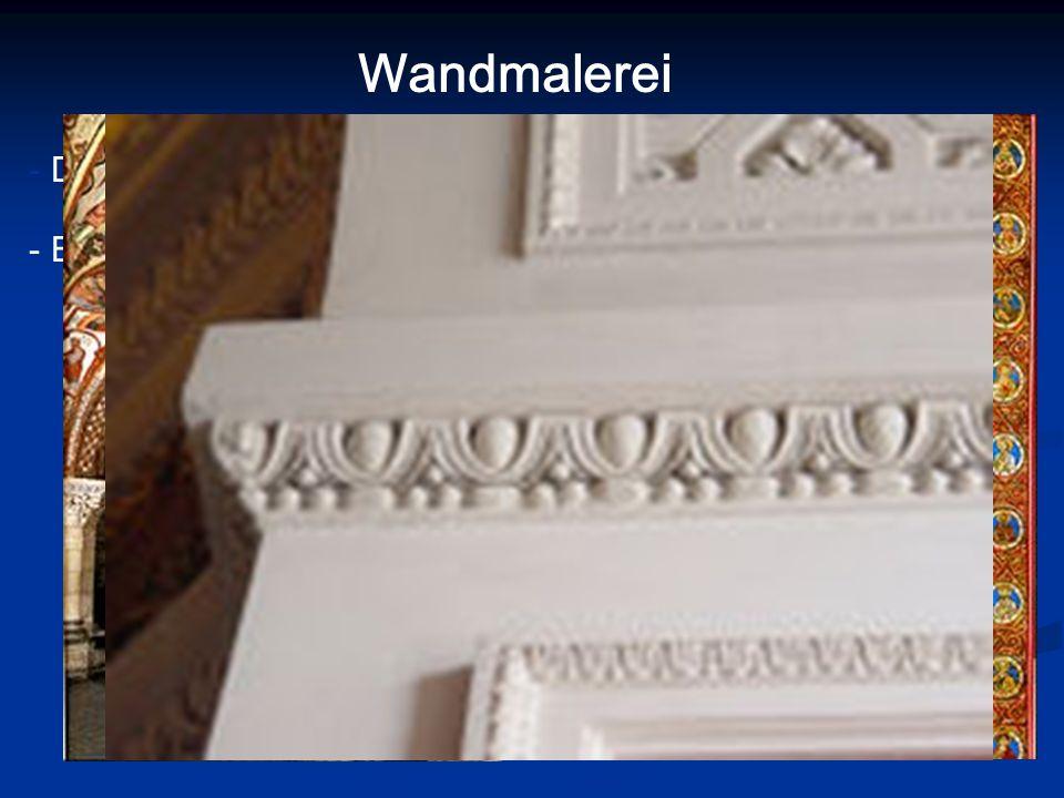 Wandmalerei - Dekoration (Ornamente, geometrische Muster) - Erzählungen (kirchliche/ritterliche Themen) - Apsis, Säulen, Decke - Schwarz, Weiß, Rot, B
