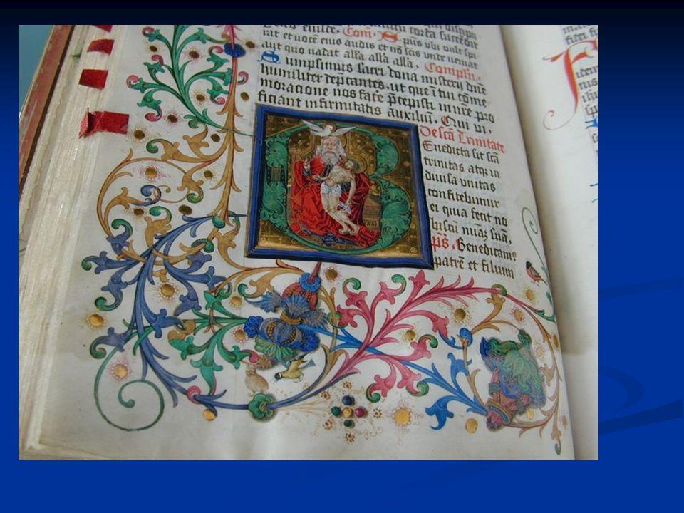 Buchmalerei - Initialen, Randmuster, Figurendarstellung - Symbolfarben - Bedeutungsperspektive - keine Schattierungen, keine räumliche Tiefe