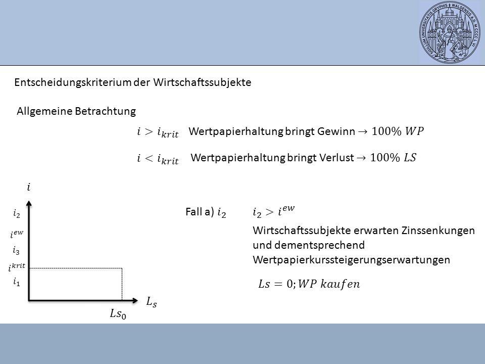 Entscheidungskriterium der Wirtschaftssubjekte Allgemeine Betrachtung Wirtschaftssubjekte erwarten Zinssenkungen und dementsprechend Wertpapierkursste