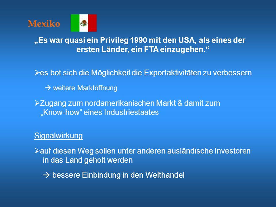 """Kanada  besseren Zugang zum mexikanischen Markt """"We cannot affect Mexican growth by ignoring Mexico  der Einfluss der USA auf dem mexikanischen Markt sollte nicht zu groß werden 1989  1,3% der kanadischen Importe hatte ihren Ursprung in Mexiko  0,5% der kanadische Exporte waren für Mexiko bestimmt  freier Zugang zu einem Land mit rasch expandierenden Markt und großen Entwicklungsmöglichkeiten  kanadische Unternehmen hätten nicht die Möglichkeit erhalten, von den relativ billigen, zollfreien mexikanischen Produktionsmitteln zu profitieren  die Unternehmen wären einer größeren Konkurrenz der USA gegenübergestanden"""