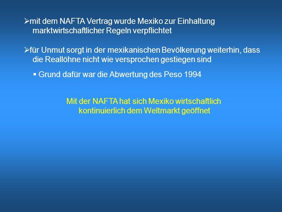  Kanada hat von der NAFTA leicht profitiert  Kosten der NAFTA:  Verlagerung einiger Fertigungsschritte nach Mexiko  Verdrängung von kanadischen Produkten  entstanden ist mit der NAFTA ein Wohlfahrtsgewinn durch einen verbesserten Marktzugang in Mexiko (Exportsteigerung) Kanada