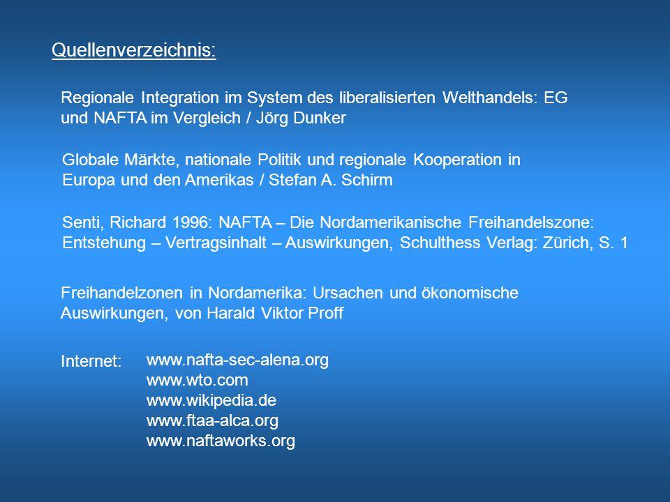 Quellenverzeichnis: Regionale Integration im System des liberalisierten Welthandels: EG und NAFTA im Vergleich / Jörg Dunker Globale Märkte, nationale