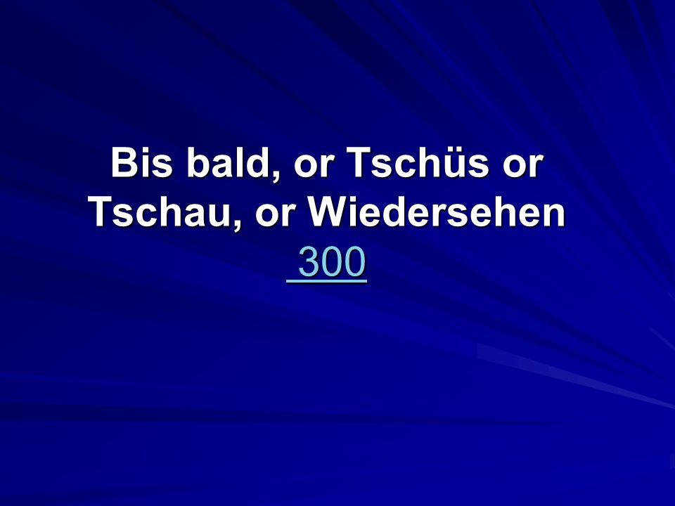 Bis bald, or Tschüs or Tschau, or Wiedersehen 300 300 300