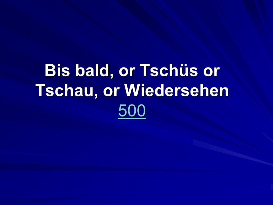 Bis bald, or Tschüs or Tschau, or Wiedersehen 500 500