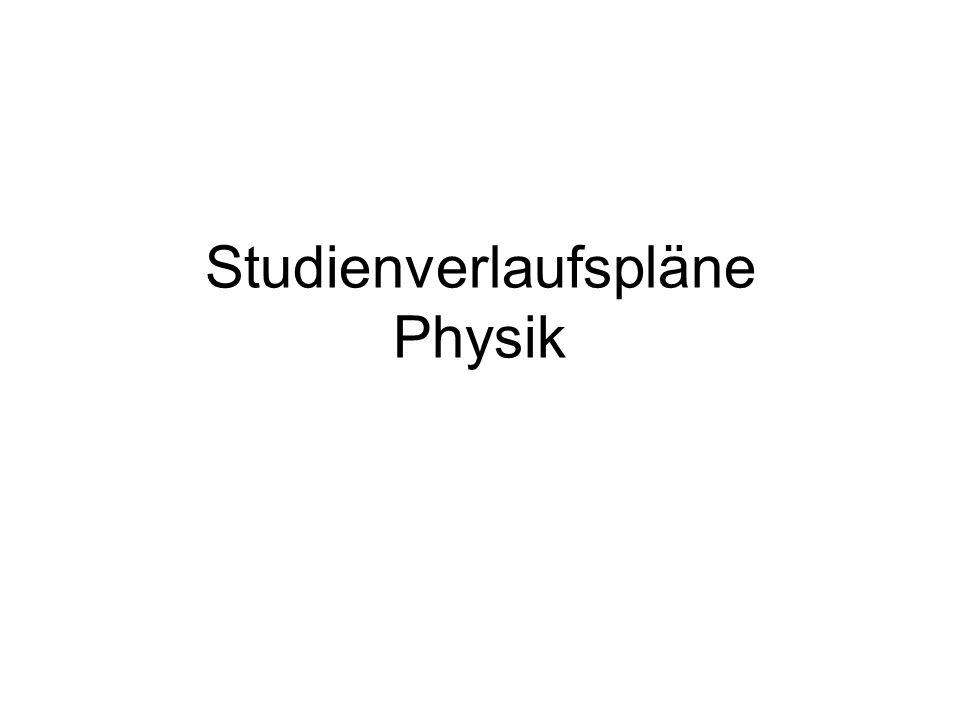 Studienverlaufspläne Physik