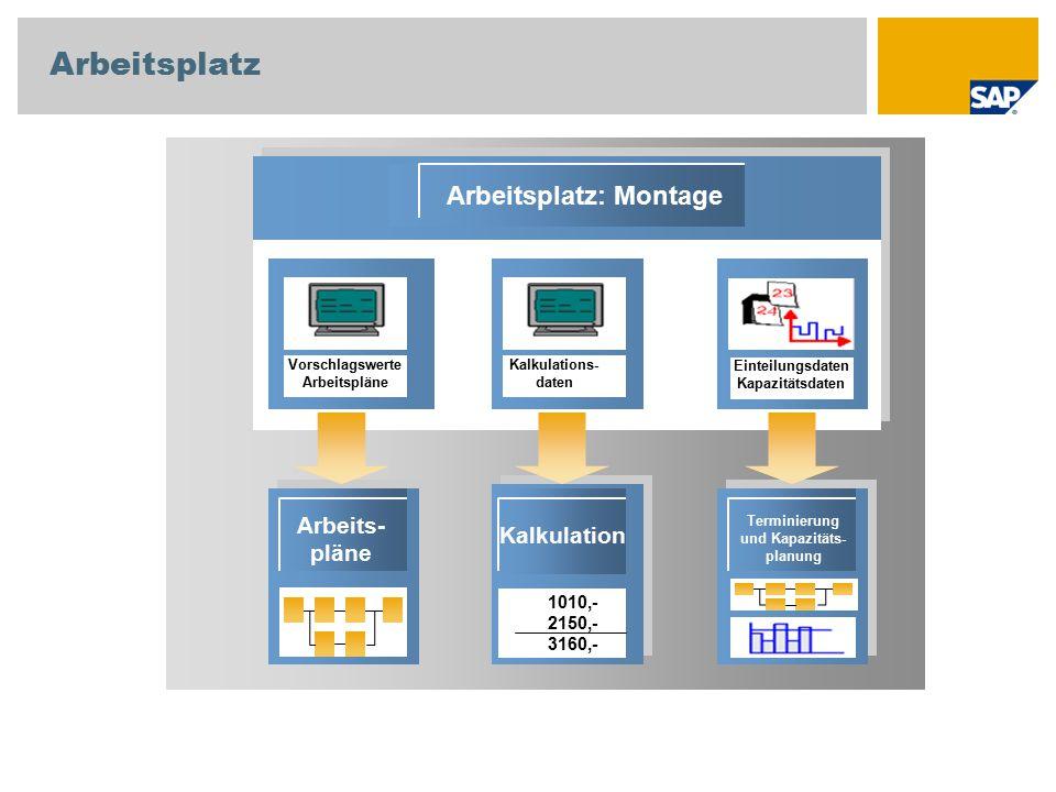 Arbeitsplatz Arbeitsplatz: Montage Arbeits- pläne Kalkulation Terminierung und Kapazitäts- planung 1010,- 2150,- 3160,- Vorschlagswerte Arbeitspläne K