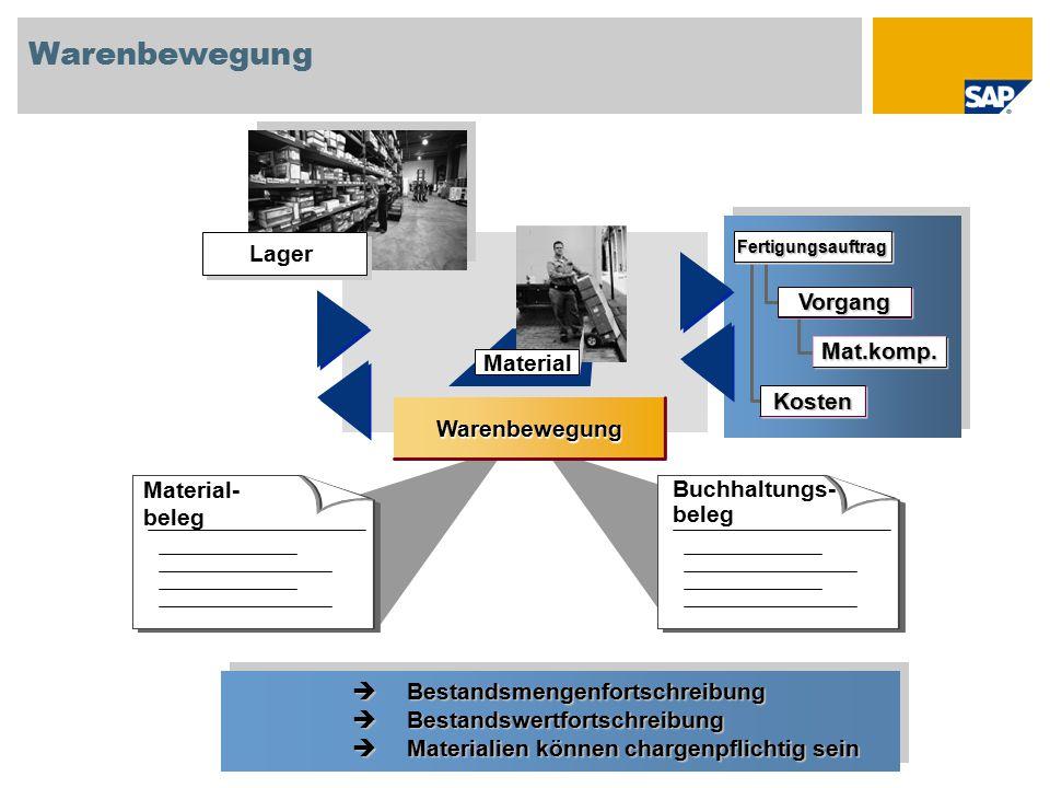 Material Warenbewegung Material- beleg Buchhaltungs- beleg Lager Vorgang Mat.komp. Fertigungsauftrag Kosten  Bestandsmengenfortschreibung  Bestandsw