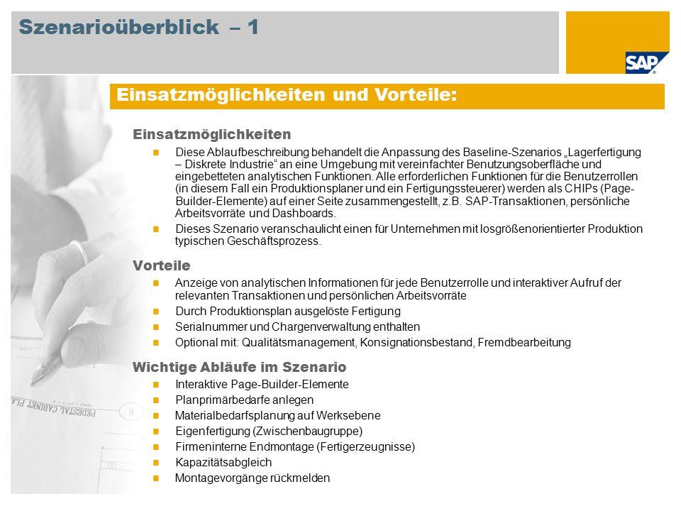 Erforderlich SAP Enhancement Package 5 for SAP ERP 6.0 Xcelsius 2008 An den Abläufen beteiligte Benutzerrollen Lagerfertigung – Diskrete Fertigung (UIE-Rolle) Produktionsplaner Fertigungssteuerer Fertigungsbereichsspezialist Lagermitarbeiter Strategischer Planer Mitarbeiter Erforderliche SAP-Anwendungen: Szenarioüberblick – 2