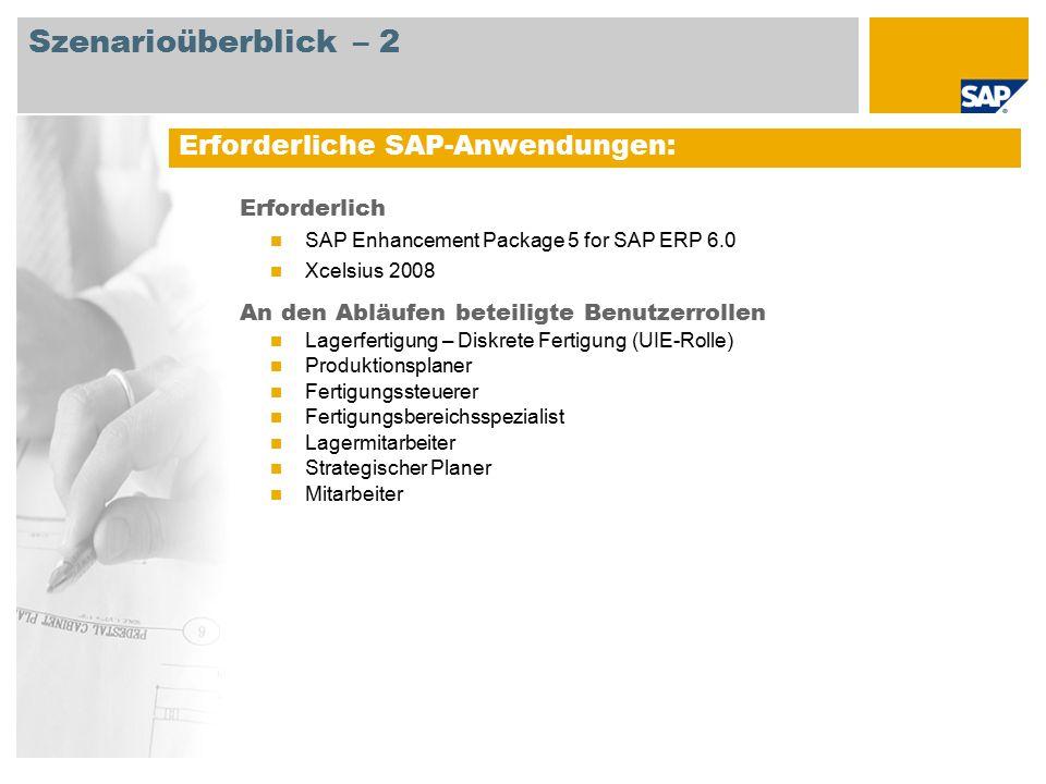 Erforderlich SAP Enhancement Package 5 for SAP ERP 6.0 Xcelsius 2008 An den Abläufen beteiligte Benutzerrollen Lagerfertigung – Diskrete Fertigung (UI