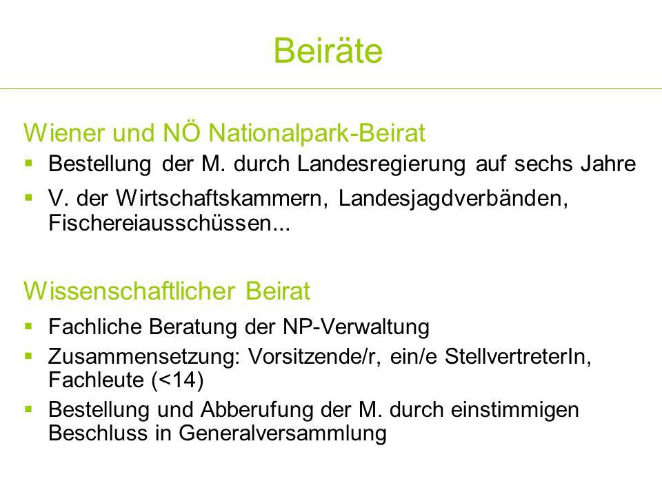 Beiräte Wiener und NÖ Nationalpark-Beirat  Bestellung der M. durch Landesregierung auf sechs Jahre  V. der Wirtschaftskammern, Landesjagdverbänden,