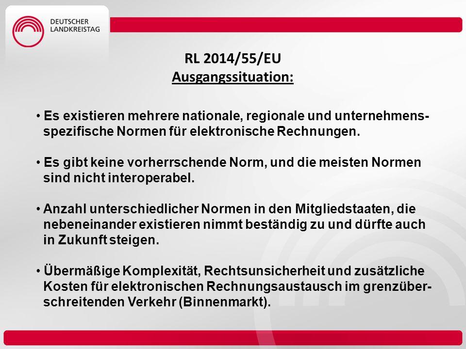 RL 2014/55/EU Ausgangssituation: Es existieren mehrere nationale, regionale und unternehmens- spezifische Normen für elektronische Rechnungen. Es gibt