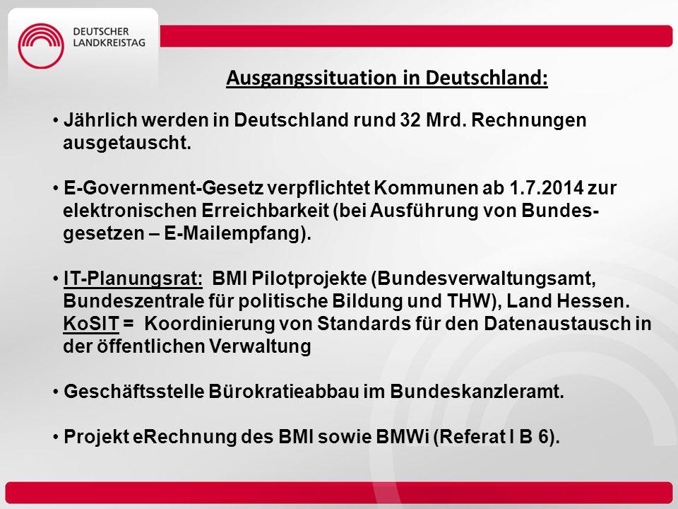 Ausgangssituation in Deutschland: Jährlich werden in Deutschland rund 32 Mrd. Rechnungen ausgetauscht. E-Government-Gesetz verpflichtet Kommunen ab 1.