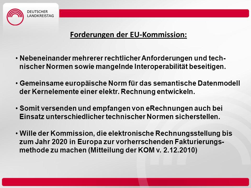 Forderungen der EU-Kommission: Nebeneinander mehrerer rechtlicher Anforderungen und tech- nischer Normen sowie mangelnde Interoperabilität beseitigen.