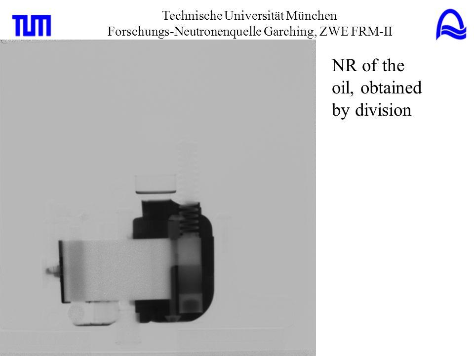 Technische Universität München Forschungs-Neutronenquelle Garching, ZWE FRM-II Fusion of: -NR of the oil pump -false color image of the oil