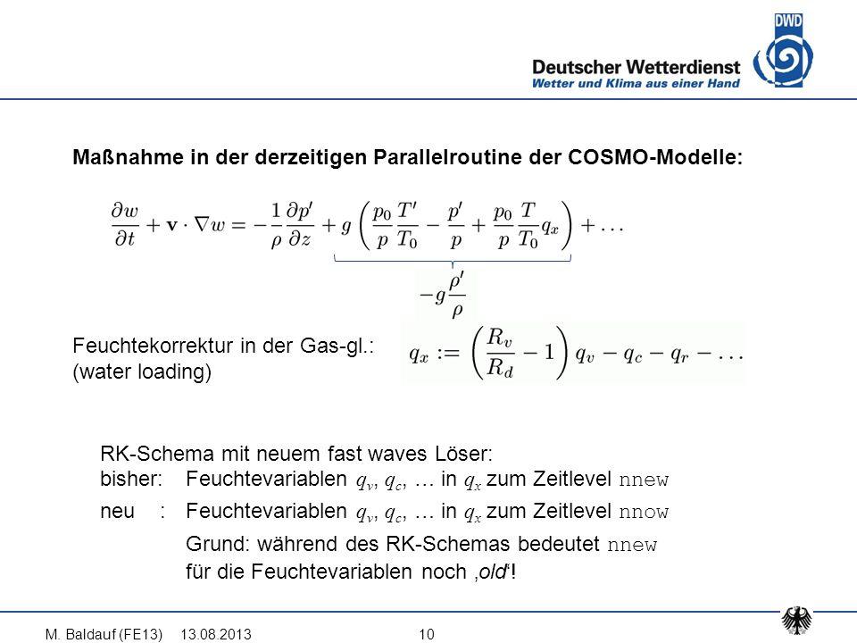 13.08.2013M. Baldauf (FE13)10 Maßnahme in der derzeitigen Parallelroutine der COSMO-Modelle: Feuchtekorrektur in der Gas-gl.: (water loading) RK-Schem