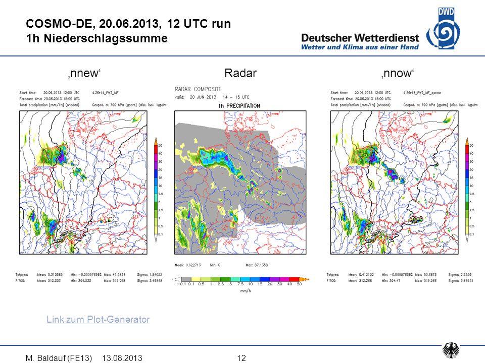 13.08.2013M. Baldauf (FE13)12 COSMO-DE, 20.06.2013, 12 UTC run 1h Niederschlagssumme 'nnew'Radar'nnow' Link zum Plot-Generator