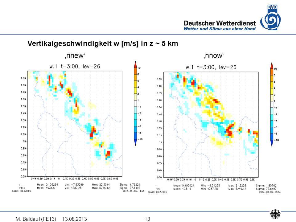 13.08.2013M. Baldauf (FE13)13 Vertikalgeschwindigkeit w [m/s] in z ~ 5 km 'nnew''nnow'