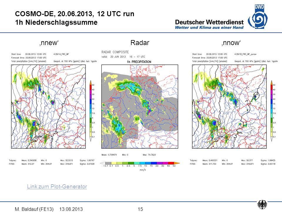13.08.2013M. Baldauf (FE13)15 COSMO-DE, 20.06.2013, 12 UTC run 1h Niederschlagssumme 'nnew'Radar'nnow' Link zum Plot-Generator