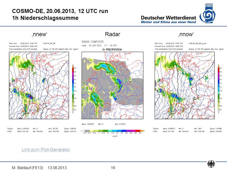 13.08.2013M. Baldauf (FE13)16 COSMO-DE, 20.06.2013, 12 UTC run 1h Niederschlagssumme 'nnew'Radar'nnow' Link zum Plot-Generator