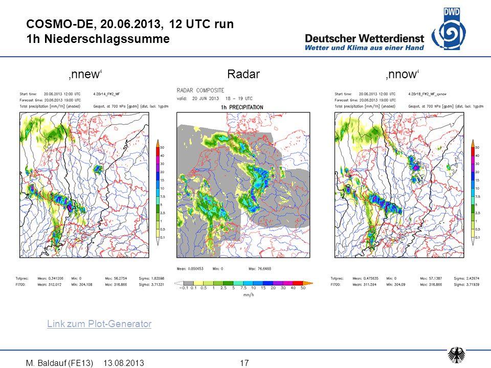13.08.2013M. Baldauf (FE13)17 COSMO-DE, 20.06.2013, 12 UTC run 1h Niederschlagssumme 'nnew'Radar'nnow' Link zum Plot-Generator