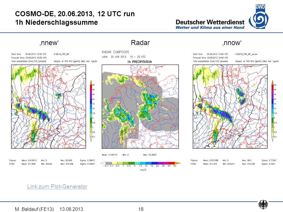 13.08.2013M. Baldauf (FE13)18 COSMO-DE, 20.06.2013, 12 UTC run 1h Niederschlagssumme 'nnew'Radar'nnow' Link zum Plot-Generator