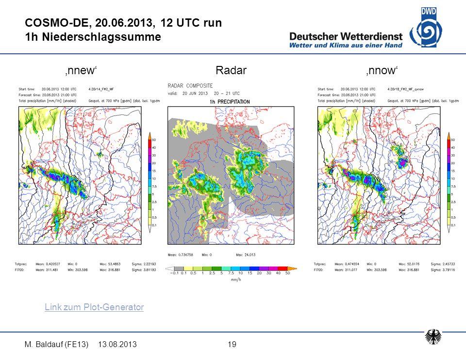13.08.2013M. Baldauf (FE13)19 COSMO-DE, 20.06.2013, 12 UTC run 1h Niederschlagssumme 'nnew'Radar'nnow' Link zum Plot-Generator