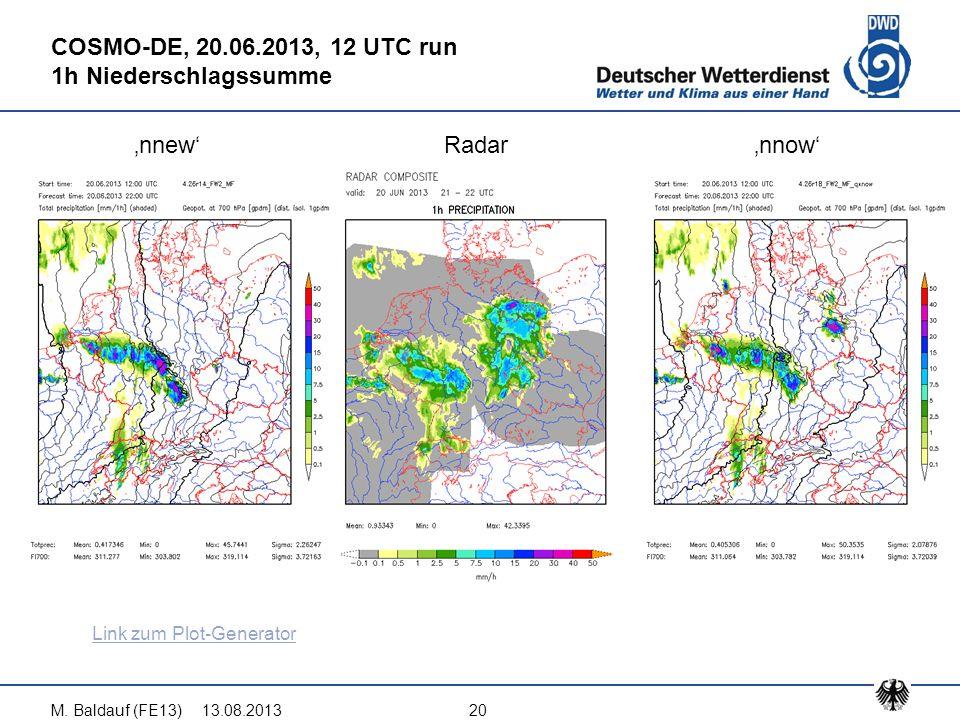 13.08.2013M. Baldauf (FE13)20 COSMO-DE, 20.06.2013, 12 UTC run 1h Niederschlagssumme 'nnew'Radar'nnow' Link zum Plot-Generator
