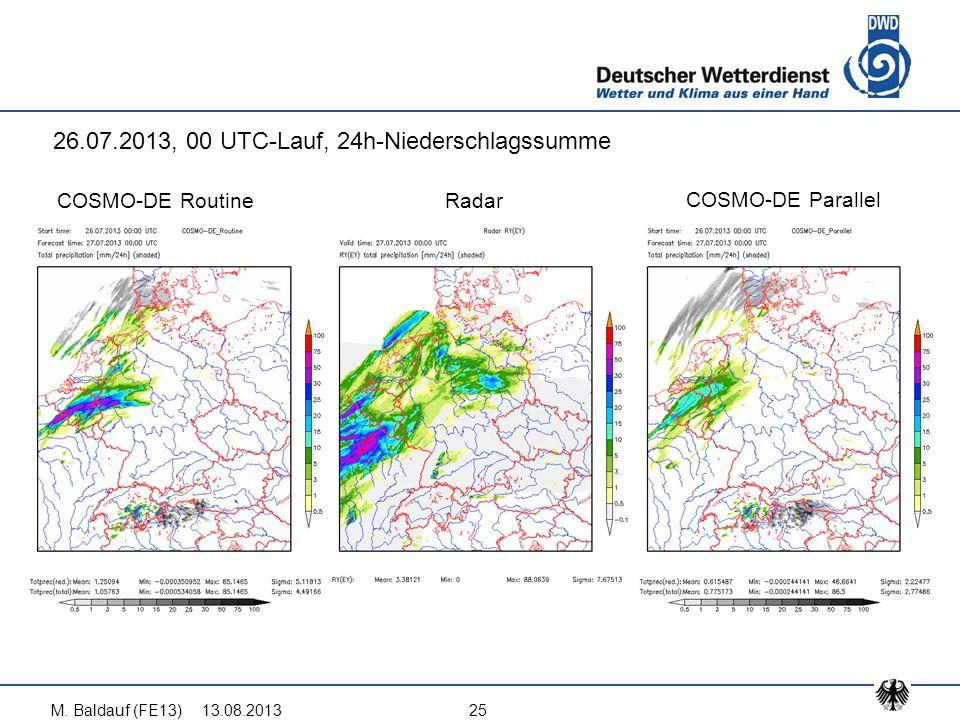 13.08.2013M. Baldauf (FE13)25 COSMO-DE Routine COSMO-DE Parallel Radar 26.07.2013, 00 UTC-Lauf, 24h-Niederschlagssumme