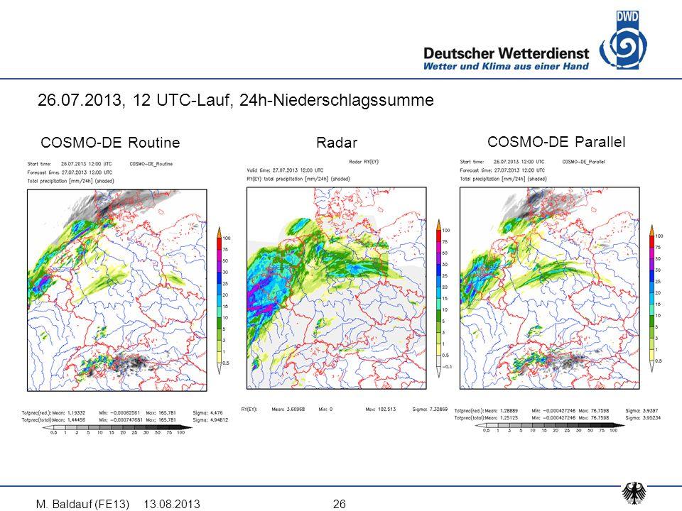 13.08.2013M. Baldauf (FE13)26 COSMO-DE Routine COSMO-DE Parallel Radar 26.07.2013, 12 UTC-Lauf, 24h-Niederschlagssumme