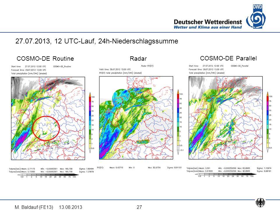 13.08.2013M. Baldauf (FE13)27 COSMO-DE Routine COSMO-DE Parallel Radar 27.07.2013, 12 UTC-Lauf, 24h-Niederschlagssumme