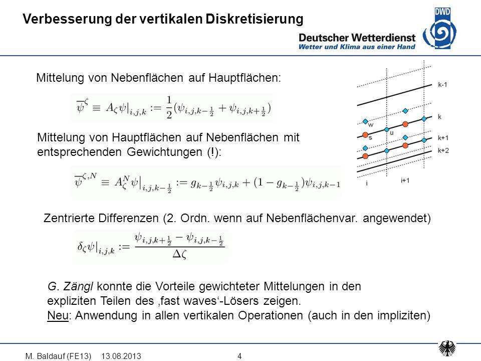 Verbesserung der vertikalen Diskretisierung Mittelung von Nebenflächen auf Hauptflächen: Mittelung von Hauptflächen auf Nebenflächen mit entsprechende