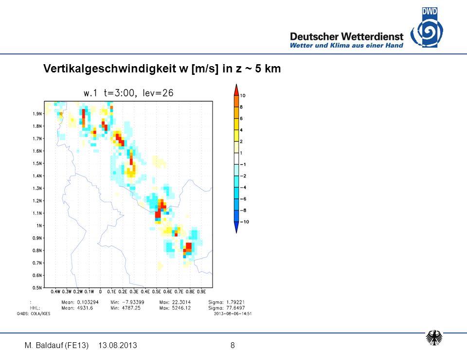 13.08.2013M. Baldauf (FE13)8 Vertikalgeschwindigkeit w [m/s] in z ~ 5 km