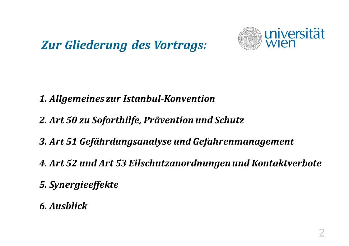 """3 1) Die Istanbulkonvention """"Übereinkommen des Europarates zur Verhütung und Bekämpfung von Gewalt gegen Frauen und häuslicher Gewalt von Österreich am 14.11.2013 ratifiziert trat am 1.8.2014 in Kraft."""