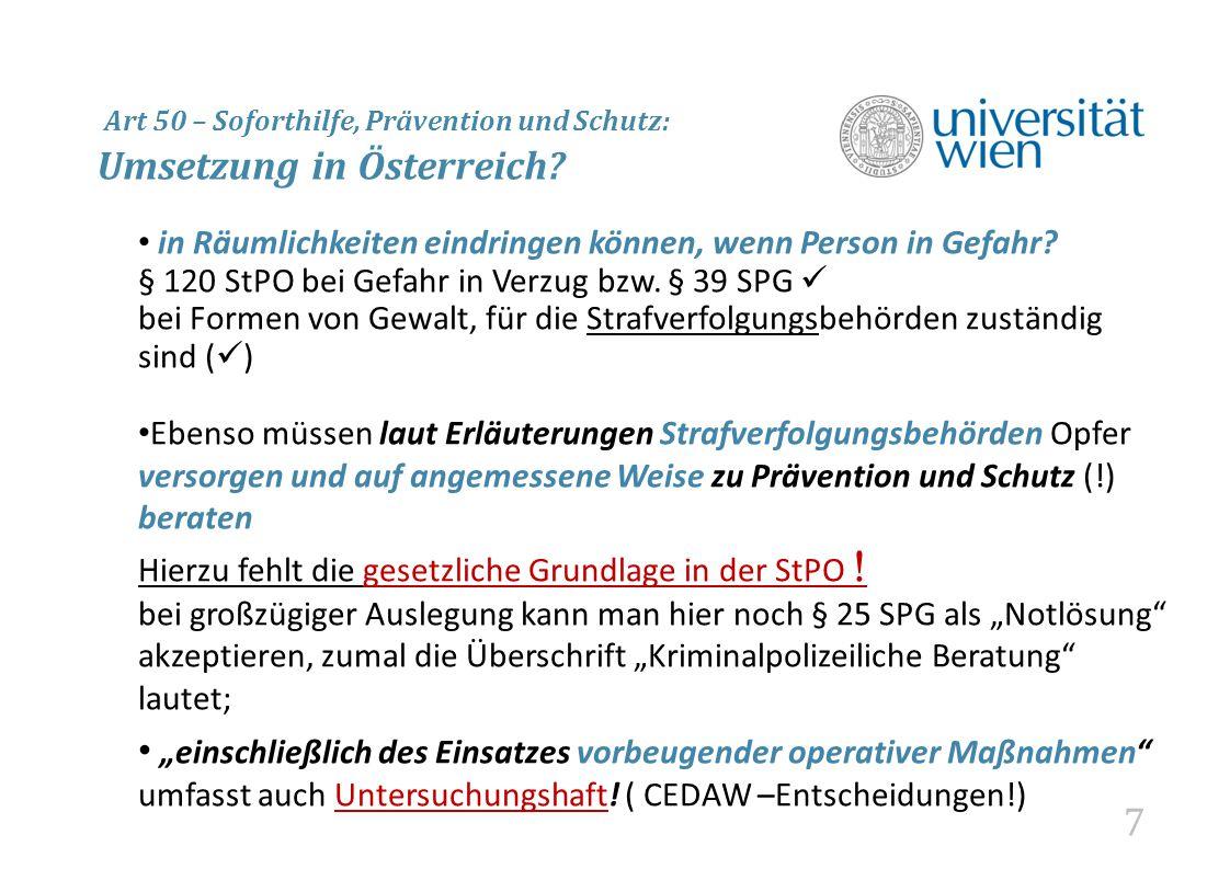 7 Art 50 – Soforthilfe, Prävention und Schutz: Umsetzung in Österreich.