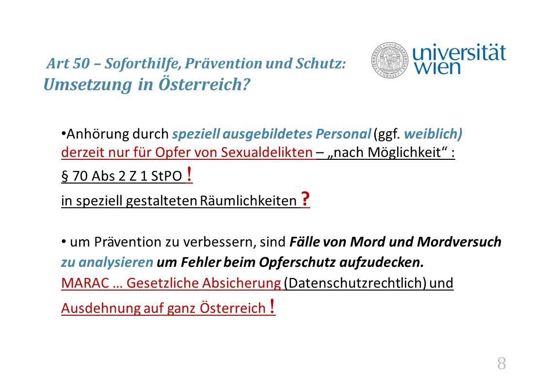 8 Art 50 – Soforthilfe, Prävention und Schutz: Umsetzung in Österreich.