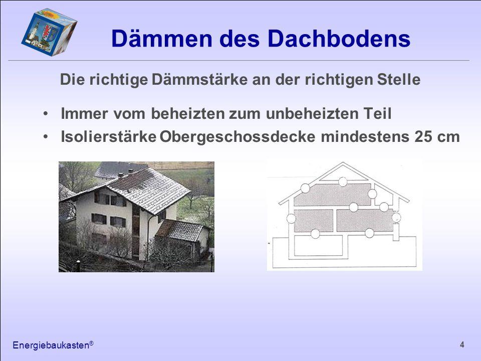 Energiebaukasten ® 4 Dämmen des Dachbodens Immer vom beheizten zum unbeheizten Teil Isolierstärke Obergeschossdecke mindestens 25 cm Die richtige Dämmstärke an der richtigen Stelle