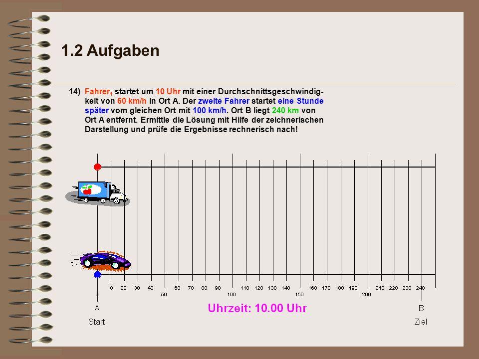 b)Nach wieviel Kilometern hat der zweite Fahrer den ersten eingeholt.