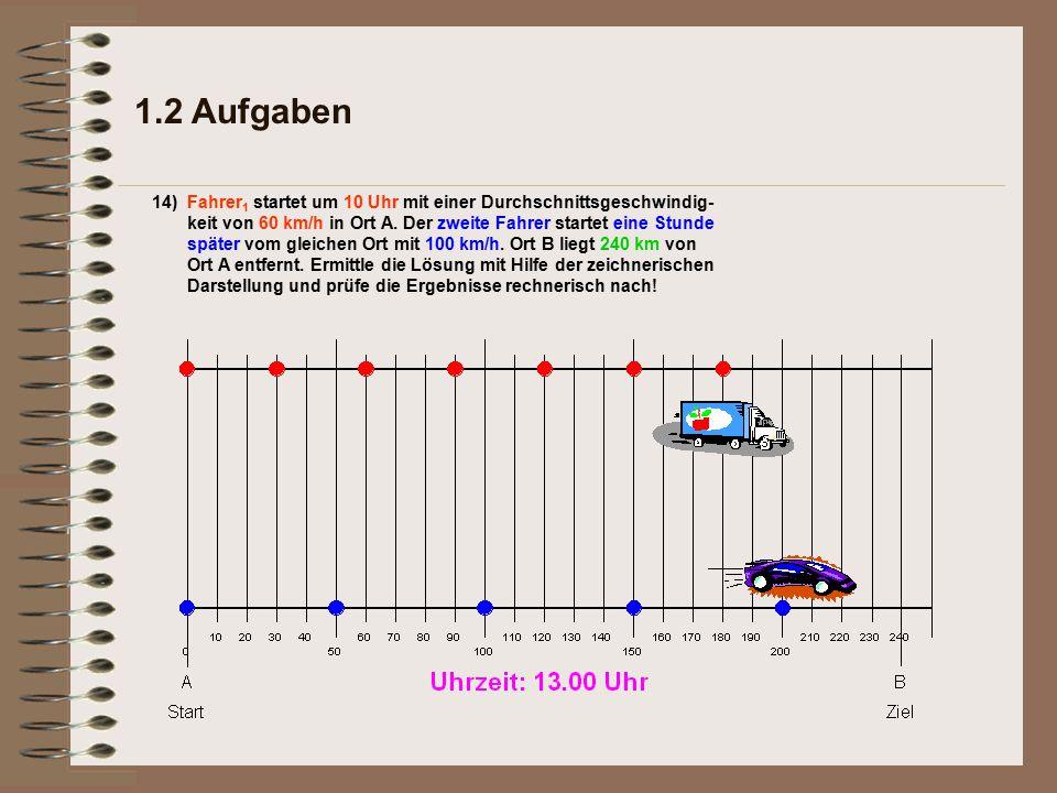 1.2 Aufgaben 14)Fahrer 1 startet um 10 Uhr mit einer Durchschnittsgeschwindig- keit von 60 km/h in Ort A.