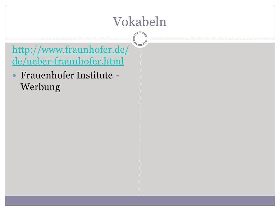 Vokabeln http://www.fraunhofer.de/ de/ueber-fraunhofer.html Frauenhofer Institute - Werbung