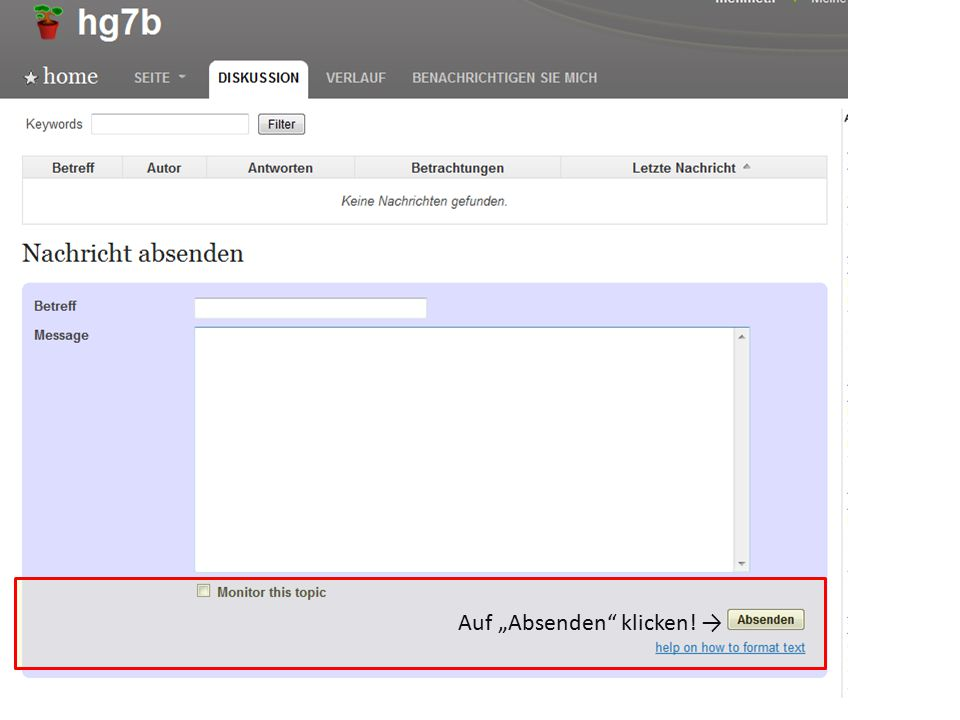 """Auf """"Absenden klicken! →"""