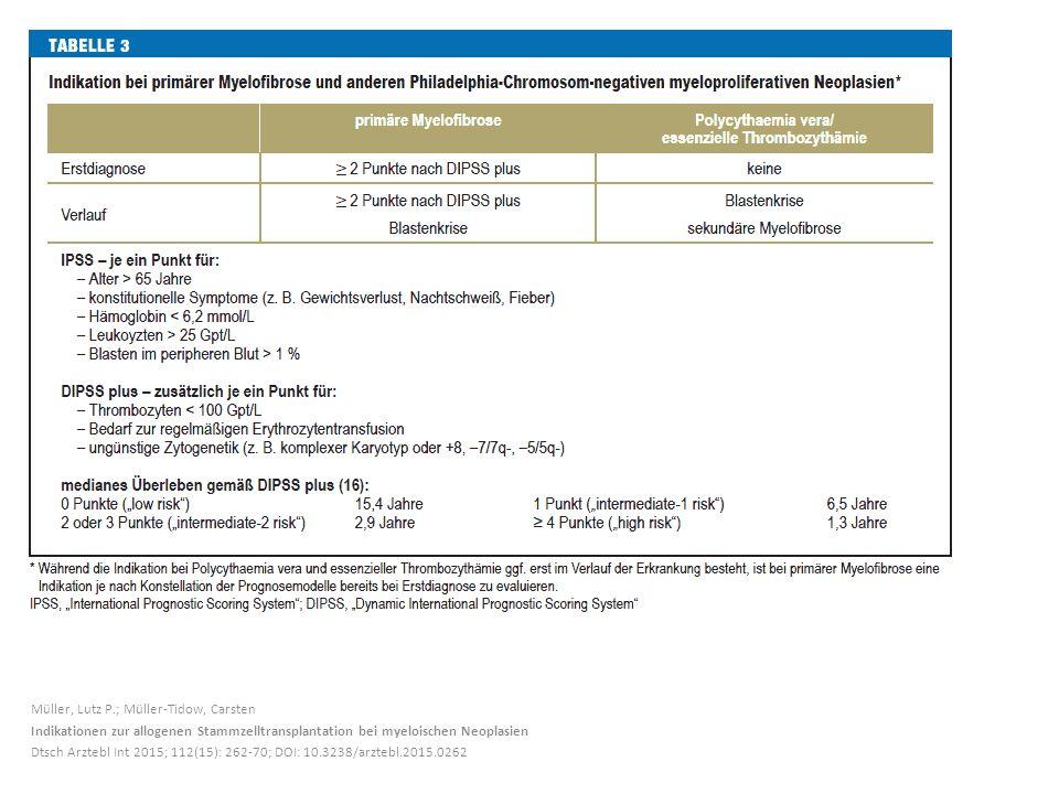 Müller, Lutz P.; Müller-Tidow, Carsten Indikationen zur allogenen Stammzelltransplantation bei myeloischen Neoplasien Dtsch Arztebl Int 2015; 112(15): 262-70; DOI: 10.3238/arztebl.2015.0262