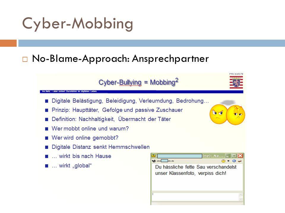 Cyber-Mobbing  No-Blame-Approach: Ansprechpartner